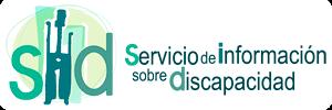 Logotipo del Servicio de Información sobre discapacidad (SID). Letras verdes sobre fondo blanco y la letra i es un dibujo de una persona con los brazos en alto