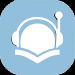 Icono azul de un libro y unos cascos. Simboliza el audiolibro