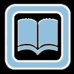 Icono azul de un libro abierto
