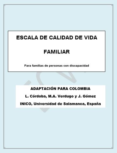 Portada Manual Escala Calidad de Vida. Versión para Colombia