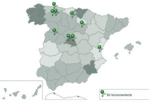 Mapa de España con los CRE ubicados en la provincia correspondiente