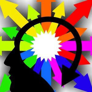 Dibujo de una cabeza de la que salen muchas flechas de distintos colores