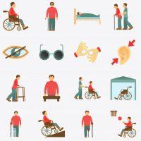 Varios dibujos dibujos relativos a los distintos tipos de discapacidad